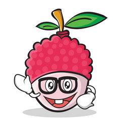 geek face lychee cartoon character style vector image vector image