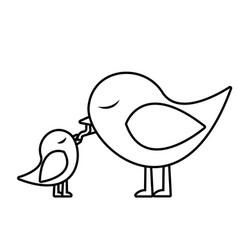 Monochrome silhouette of bird feeding a chick vector