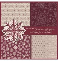 set of Wallpaper Christmas gift paper vector image vector image