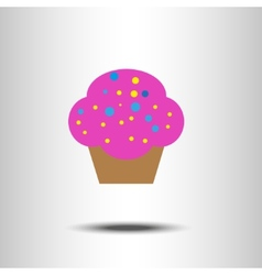 Sweet pink cartoon cupcake vector image