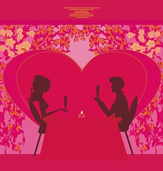 Young couple silhouettes flirt and drink champagne vector image vector image