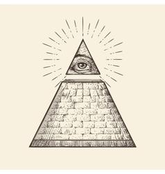 All seeing eye pyramid symbol New World Order vector image