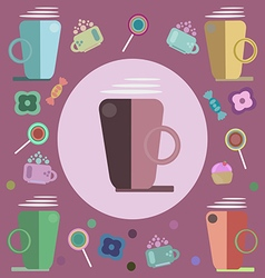 Coffee candies and sweets for a card vector image vector image