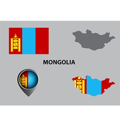 Map of Mongolia and symbol vector image vector image