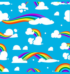 seamless pattern with clouds and rainbow vector image