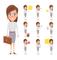 set of business woman character in occupation vector image