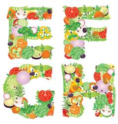 Alphabet of vegetables EFGH vector image vector image