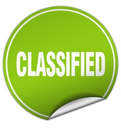 classified round green sticker isolated on white vector image vector image