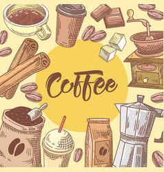 coffee hand drawn doodle with coffee cup vector image vector image