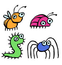 Funny cartoon insects crawling somewhere vector