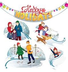 happy holidays set vector image vector image
