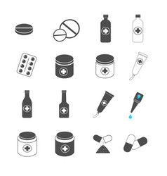 medication pill and capsule icons set vector image