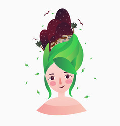 a beautiful girl with green hair and woman hair vector image vector image