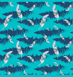 blue seamless pattern with feathers vector image vector image