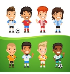 Cartoon International Soccer Players Set vector image vector image