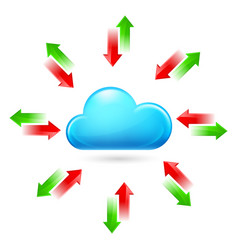 Cloud with arrows on white background vector