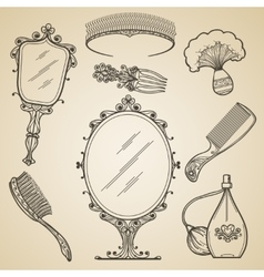 Hand drawn vintage beauty and retro makeup items vector image