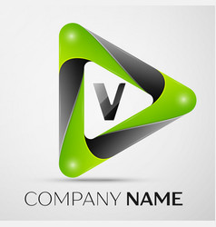 letter v logo symbol in the colorful triangle on vector image vector image
