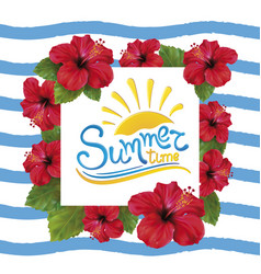 summer time and hibiscus vector image