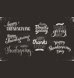 thanksgiving text on blackboard vector image