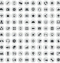100 communication icons vector image