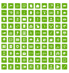 100 security icons set grunge green vector