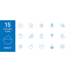 15 sweet icons vector image