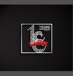 18 years anniversary logotype with square silver vector