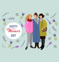 8 march womens with doodle flowers and leaves vector image