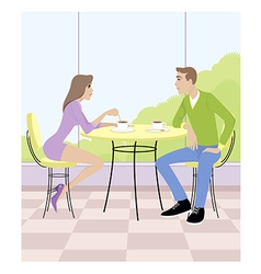 a couple sitting in cafe vector image