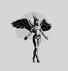 A woman angel with wings vector