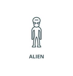 alien line icon alien outline sign vector image