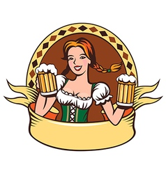Beer girl emblem vector image
