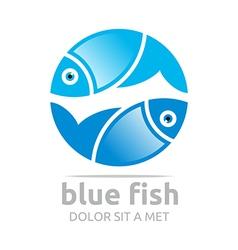 blue fish circle design icon symbol vector image