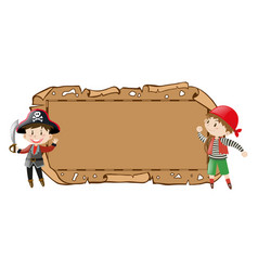 Border template with two pirates vector