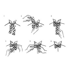 bow tie instructions sketch engraving vector image