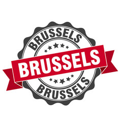 Brussels round ribbon seal vector