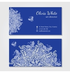 business card Blue background vector image