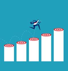 Businessman jumps up target step achievement the vector