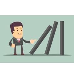 Businessman toppling dominoes vector