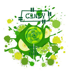 Candy lime and apple lolly dessert colorful icon vector