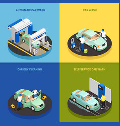 Carwash concept icons set vector