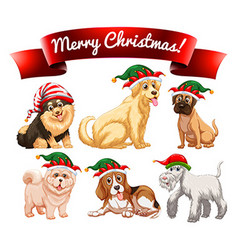 Christmas theme with many dogs vector