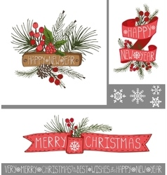 ChristmasNew year greeting cardsbanners vector image