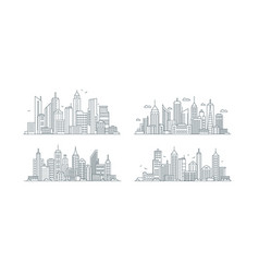 city buildings linear icons set business center vector image