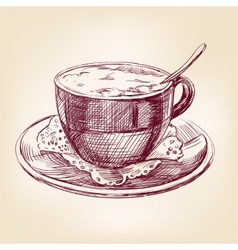 Coffee cup hand drawn llustration realistic sketch vector
