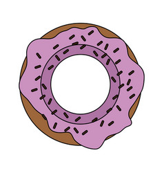 Color image cartoon donut with medium pink glazed vector
