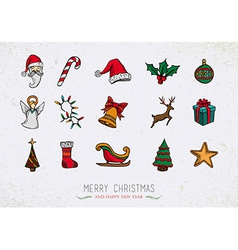 Colorful Vintage Christmas icons set vector