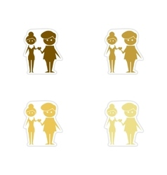 Concept paper stickers on white background Man vector