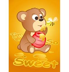 Cute bear eating honey with a bee vector